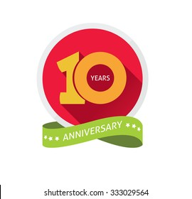 10th anniversary logo template  with a shadow on circle and the number 1 (one). 10 years anniversary icon. Ten years birthday party symbol tenth