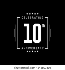 10th anniversary logo, vector celebration design with rectangle on black background.