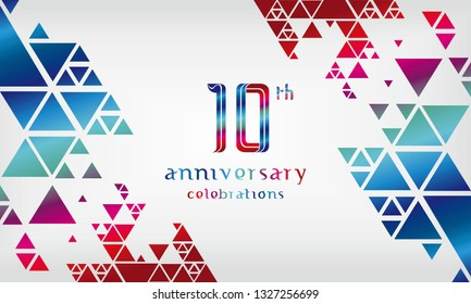 10th anniversary logo vector template. Design for banner, greeting cards or print.