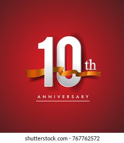 10th anniversary logotype with golden ribbon isolated on red elegance background, vector design for birthday celebration, greeting card and invitation card.