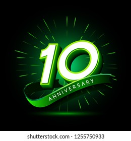 10th anniversary neon text vector design template. green number neon logo, light banner design element colorful design trend, night bright advertising neon text anniversary event party template