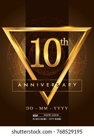 10th anniversary poster design on golden and elegant background, vector design for anniversary celebration, greeting card and invitation card.