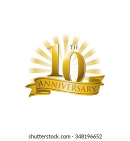 10th anniversary ribbon logo with golden rays of light