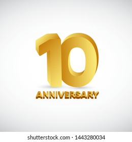 10th anniversary vector template. Gold 3d design concept. Design for celebration, greeting cards or print.