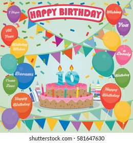 10th Birthday cake and decoration background in flat design with balloons and candles
