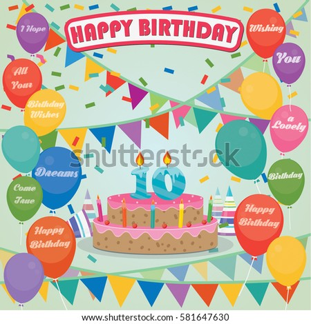 10th Birthday Cake And Decoration Background In Flat Design With Balloons Candles