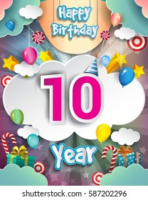 10th Birthday Celebration greeting card Design, with clouds and balloons. Vector elements for the celebration party of ten years anniversary