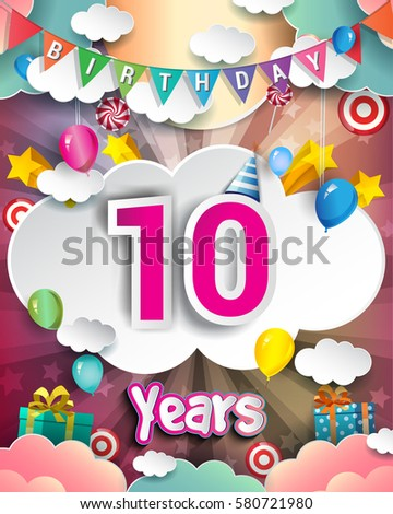 10th Birthday Celebration Greeting Card Design With Clouds And Balloons Vector Elements For The