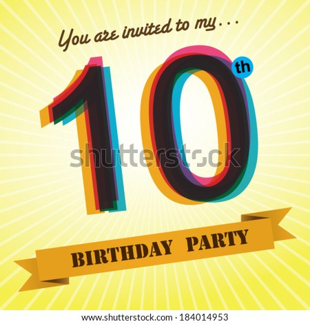 10th Birthday Party Invite Template Design In Retro Style