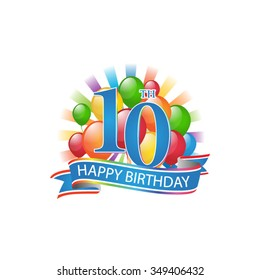 10th colorful happy birthday logo with balloons and burst of light