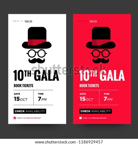 10th gala formal event invite hat stock vector royalty free