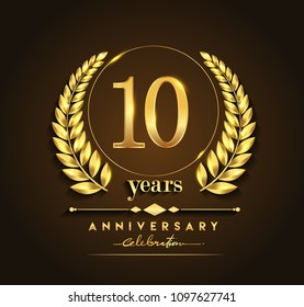 10th gold anniversary celebration logo with golden color and laurel wreath vector design.
