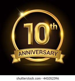 10th golden anniversary logo, with shiny ring and ribbon, laurel wreath isolated on black background, vector design
