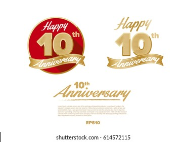10th golden years anniversary logo celebration