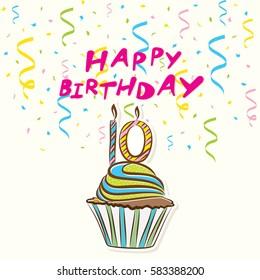 10th happy birthday celebration greeting card design
