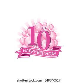 10th pink happy birthday logo with balloons and burst of light