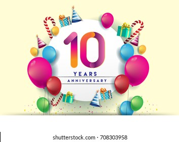 10th years Anniversary Celebration Design with balloons and gift box, Colorful design elements for banner and invitation card.