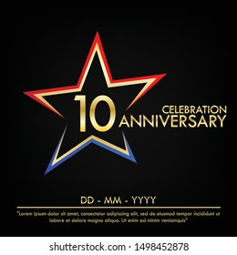 10th years anniversary celebration emblem. anniversary elegance golden logo with red and blue star shape. vector illustration template design for web, leaflet, flyer, greeting card and invitation card