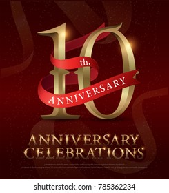 10th years anniversary celebration golden logo with red ribbon on red background. vector illustrator