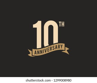 10th Years Anniversary Celebration Icon Vector Logo Design Template