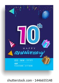10th Years Anniversary invitation Design, with gift box and balloons, ribbon, Colorful Vector template elements for birthday celebration party.