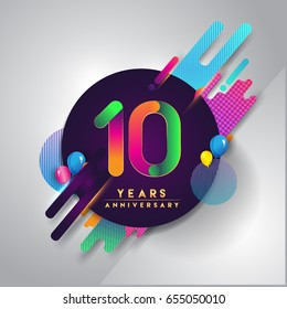 10th years Anniversary logo with colorful abstract background, vector design template elements for invitation card and poster ten years celebration