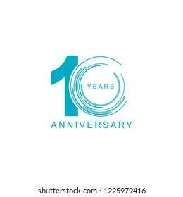 10th Years Anniversary Logo Icon Template, Anniversary lettering with blue color. Vector EPS 10. Birthday celebration number.