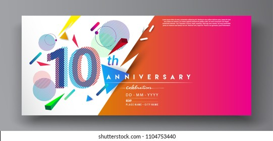 10th years anniversary logo, vector design birthday celebration with colorful geometric background and circles shape.