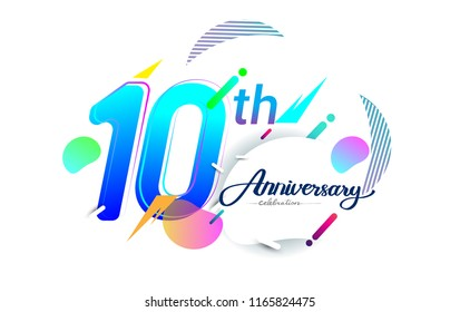 10th years anniversary logo, vector design birthday celebration with colorful geometric background, isolated on white background.
