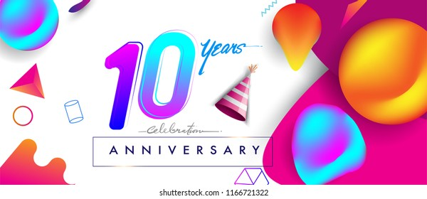 10th years anniversary logo, vector design birthday celebration with colorful geometric background and futuristic elements