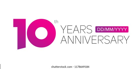 10th years anniversary logo, vector design birthday celebration with gradient, white background and stylish balance.