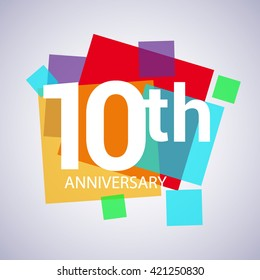 10th years anniversary logo, vector design birthday celebration with colorful geometric isolated on white background.