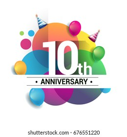 10th years anniversary logo, vector design birthday celebration with colorful geometric, Circles and balloons isolated on white background.