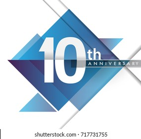 10th years anniversary logo, vector design birthday celebration with geometric isolated on white background.