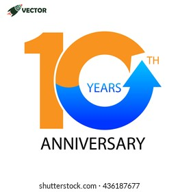 10th years anniversary sign and label vector and illustration