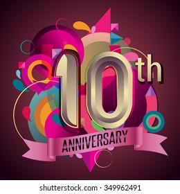 10th years anniversary wreath ribbon logo, geometric background