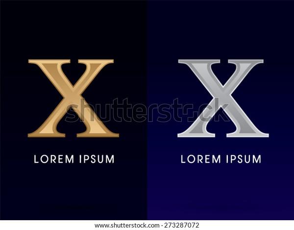 10,X ,Luxury Gold and Silver Roman numerals, sign, logo, symbol, icon, graphic, vector.