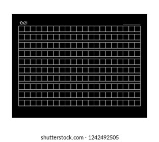 10x21 Squared manuscript paper. Vector stock illustration.