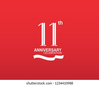11 anniversary flat design white color isolated on red background