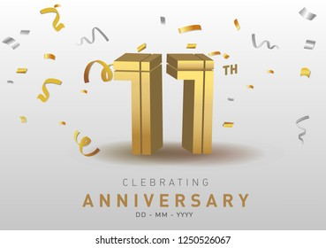 11 Anniversary gold numbers with golden confetti. Celebration 11th anniversary event party template.