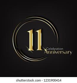 11 anniversary template design golden with dark background style