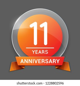 11 / Eleven Years Anniversary Logo with Glass Emblem Isolated. 11th / Eleventh Celebration. Editable Vector Illustration.