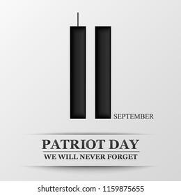 11 september. Patriot day. Design for postcard, flyer, poster, banner.