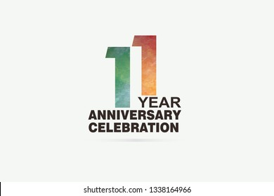 11 year anniversary celebration logotype with watercolor Green and Orange Emboss Style isolated on white background for invitation card, banner or flyer -vector