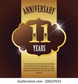 """11 Year Anniversary"" - Elegant Golden Design Template / Background / Seal"