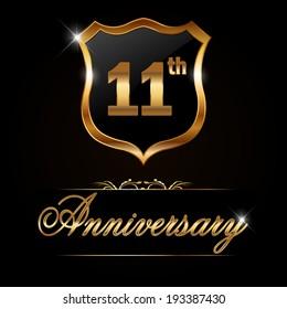 11 year anniversary golden label, 11th anniversary decorative golden emblem - vector illustration