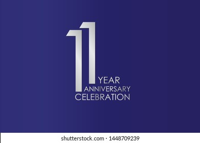 11 Year Anniversary Silver Color on Blue Background, For Invitation, banner, ads, greeting card - Vector