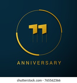 11 Year Anniversary Vector Logo Design Isolated on Dark Background