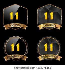 11 year birthday celebration golden label, 11th anniversary decorative polygon golden emblem - vector illustration eps10