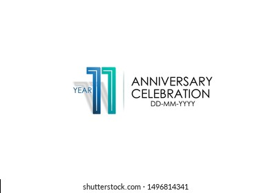 11 years anniversary celebration Blue and Tosca Colors Design logotype. anniversary logo isolated on White background, vector Horizontal number design for celebration, invitation card -vector